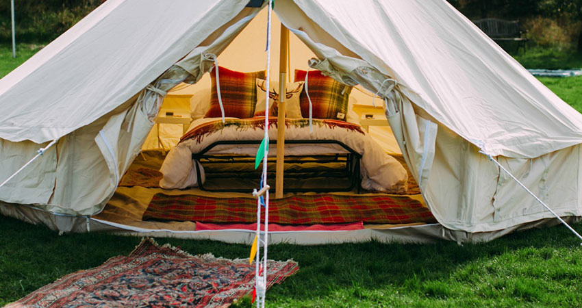 Bell tents on our event field provide more accommodation for your guests