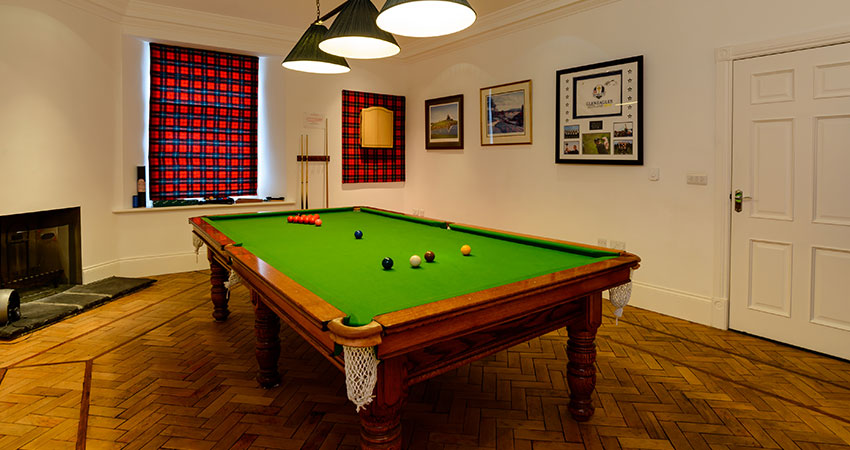 Relax over a game of snooker on your personal retreat in Perthshire