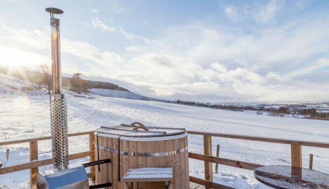 Yurt Hot Tub in the Snow - Glamping in Scotland