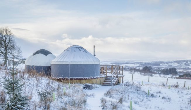 Yurt Bramble in the Snow - Glamping in Scotland