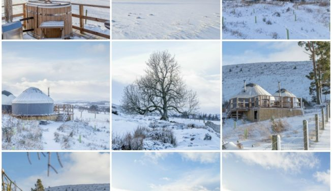 Yurts in the Snow - Glamping in Scotland