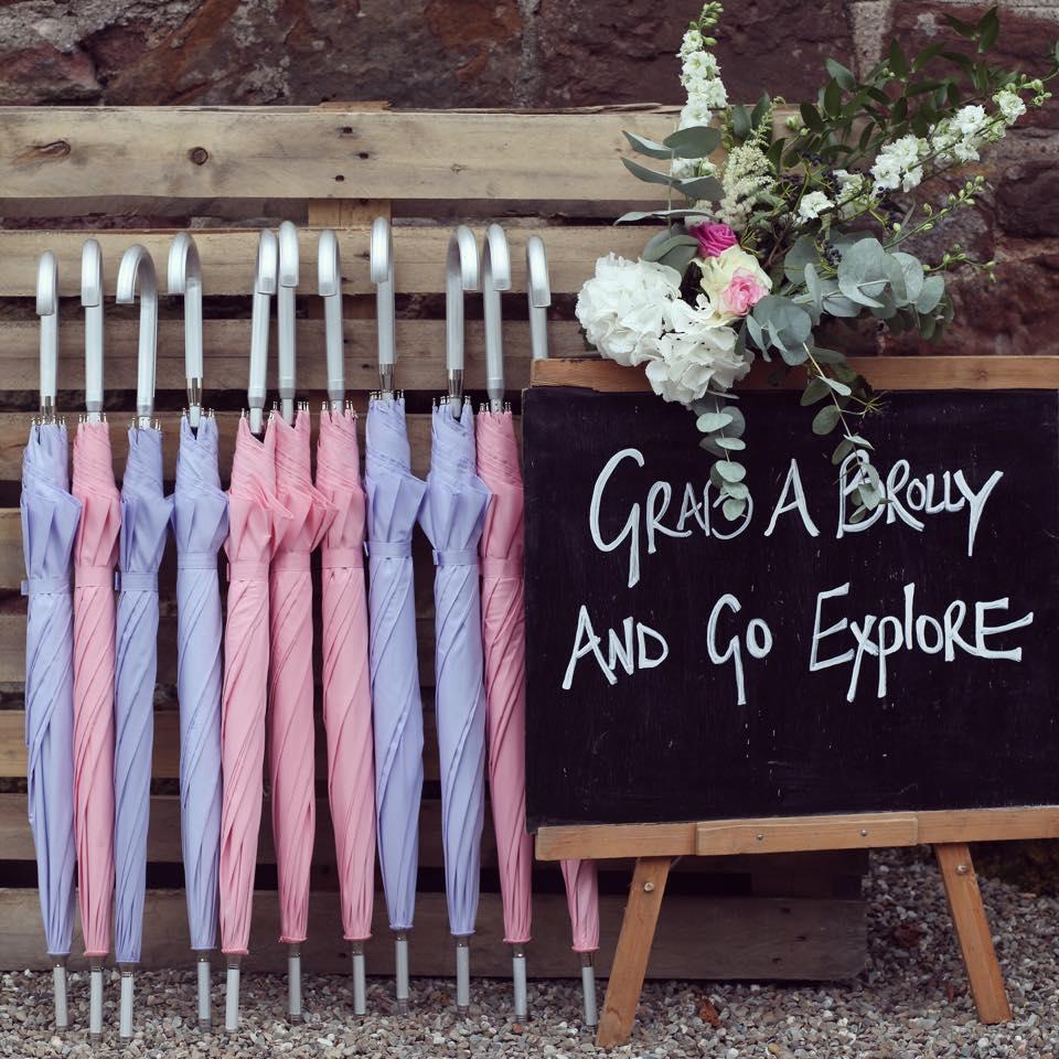 Festival Wedding Umbrella Hire Perthshire Scotland | Brolly Bucket