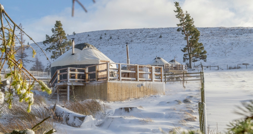 Yurts in the Snow   Wood-fired Hot Tub   Glamping Yurts Scotland Perthshire