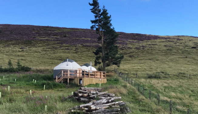 Yurt Bramble nestled into the hillside - Yurts in the Snow - Glamping in Scotland