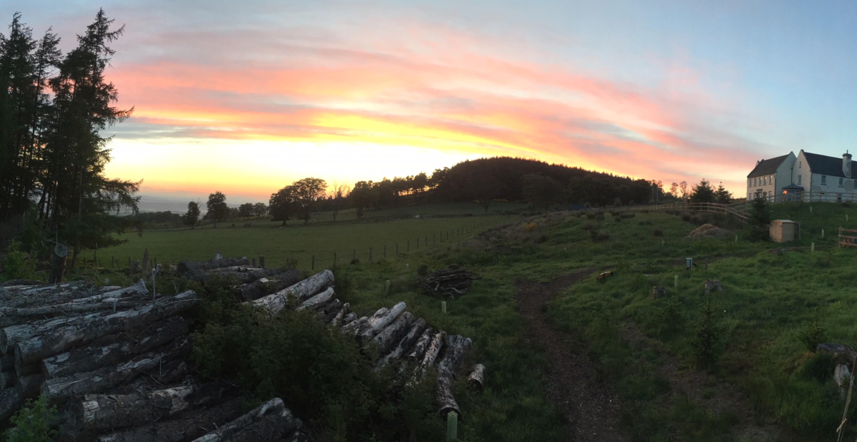 Sunset at Alexander House | Glamping & Self Catering Holiday House near Gleneagles